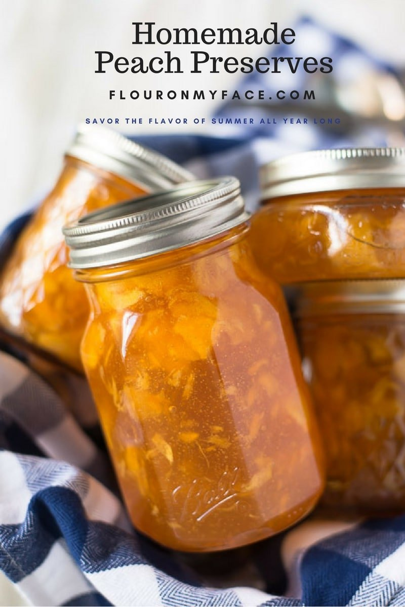 Homemade Peach Preserves recipe for you to can all those ripe summer peaches. Enjoy the sweet flavor of peaches in the winter months with this peach canning recipe via flouronmyface.com