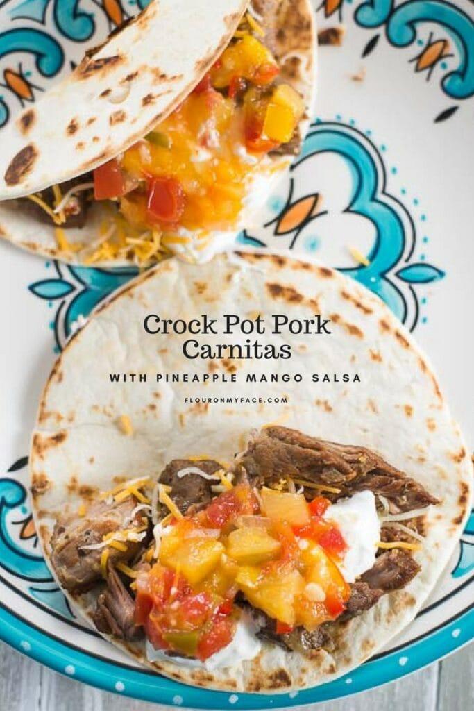 Mexican Pulled Pork Carnitas recipe made in the crock pot slow cooker via flouronmyface.com
