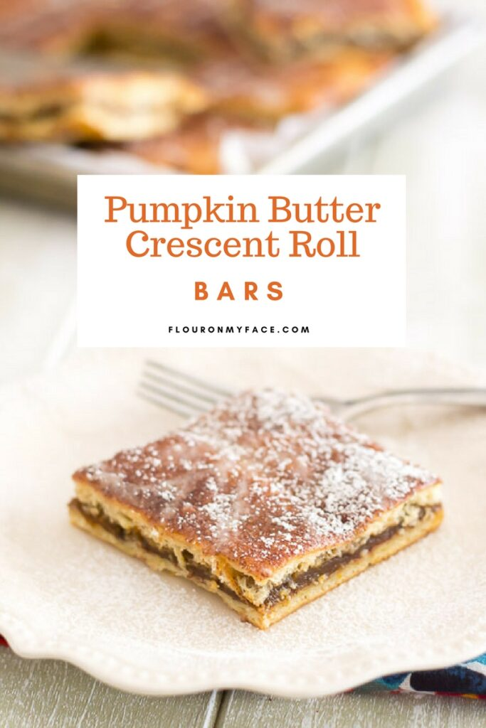 Pumpkin Butter Crescent Roll Bars recipe via flouronmyface.com