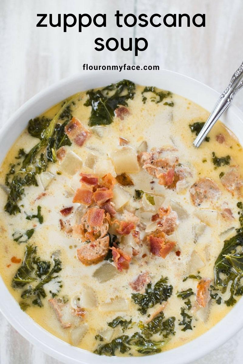 Homemade Zuppa Toscana Soup recipe made in the crock pot via flouronmyface.com