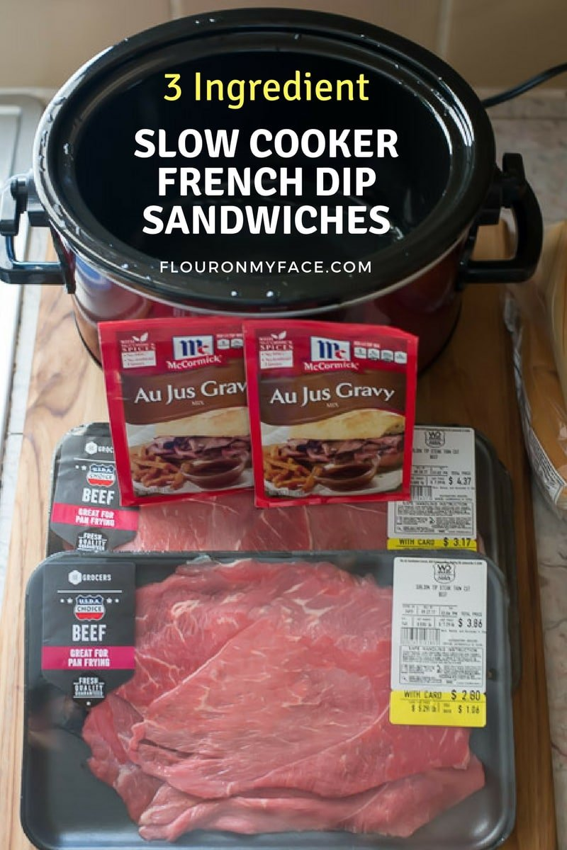 3 Ingredient Slow Cooker French Dip Sandwich Recipe via flouronmyface.com