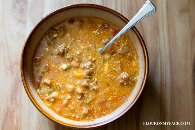 Cowboy Sausage Soup recipe via flouronmyface.com