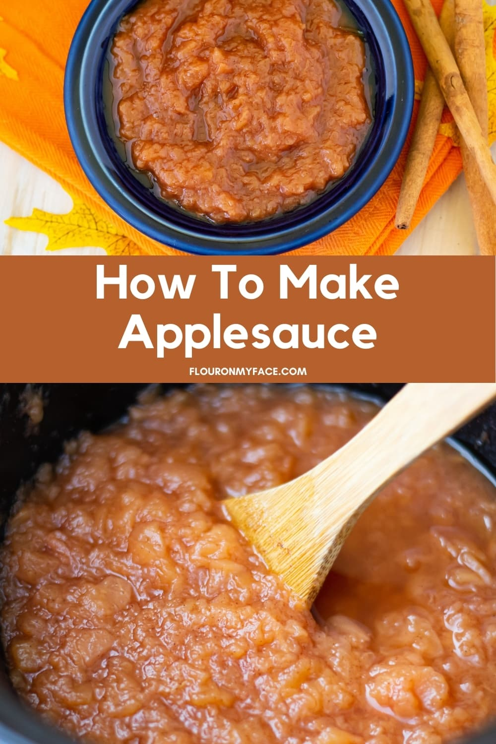 Overhead of applesauce as it cooks in a round crock pot