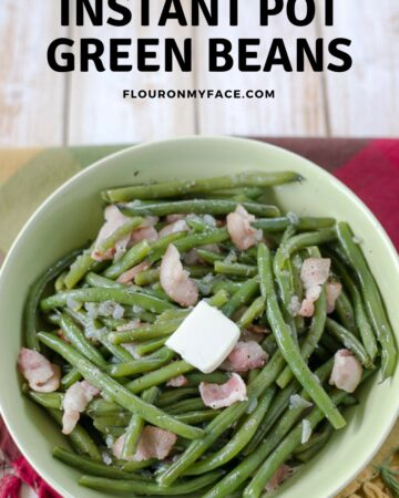 Instant Pot Green Beans with bacon in a serving bowl.