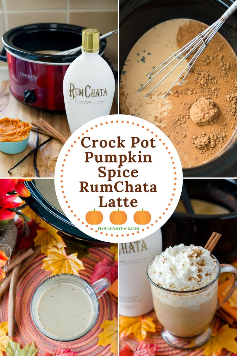 Collage of images from making Crock Pot Pumpkin Spiced RumChata Latte