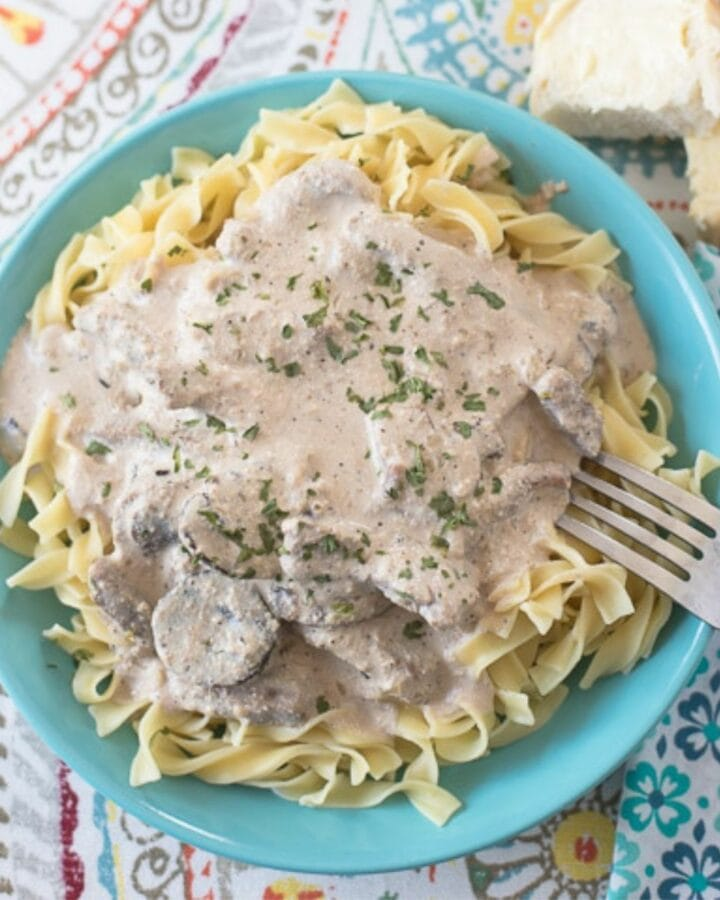 A bowl filled with noodles topped with creamy beef stroganoff.