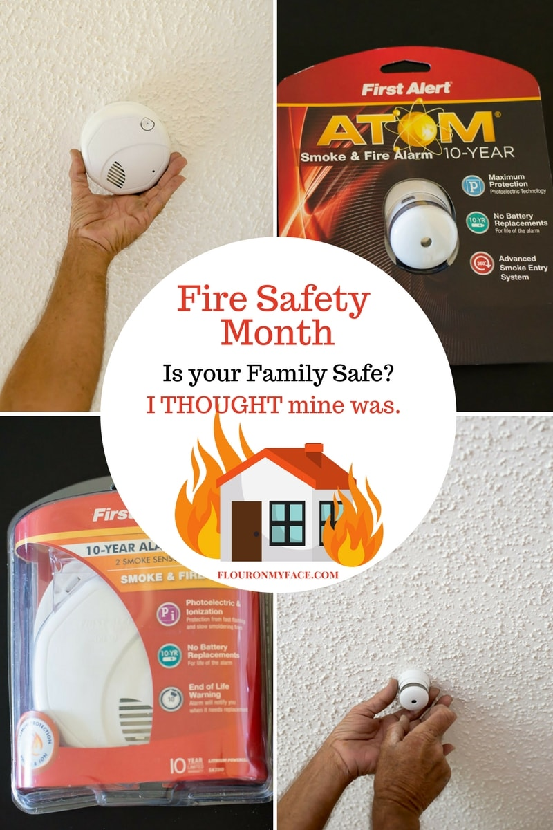 Fire Prevention Month: Collage photo of smoke and fire alarms being installed in my home. Is your family safe from fire?