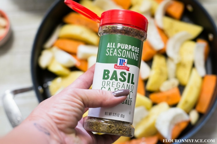 Bottle of McCormick Basil, Oregano, Garlic & Sea Salt All Purpose Seasoning