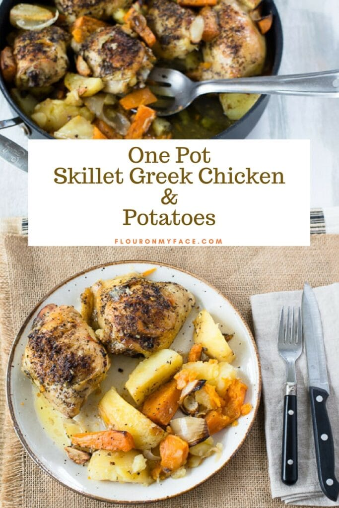 Plate with One Pot Skillet Greek Chicken Recipe made with McCormick All Purpose Seasoning #ad