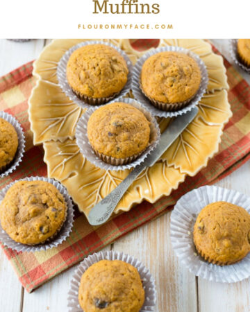 Pumpkin Cranberry Muffins on a fall maple leave serving platter