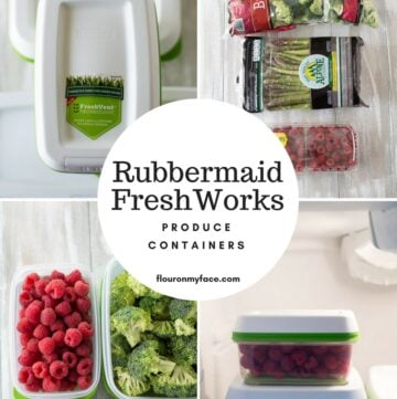 Rubbermaid FreshWorks Produce Containers in a photo collage with fresh produce.