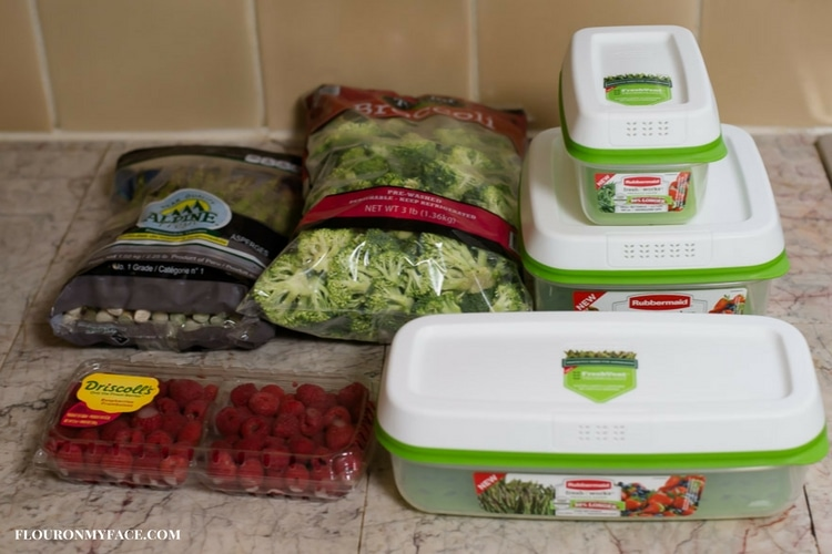 Storing fresh produce bought in bulk in Rubbermaid produce containers