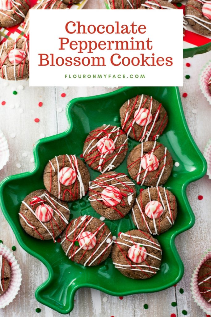 Chocolate Peppermint Blossom Cookies recipe