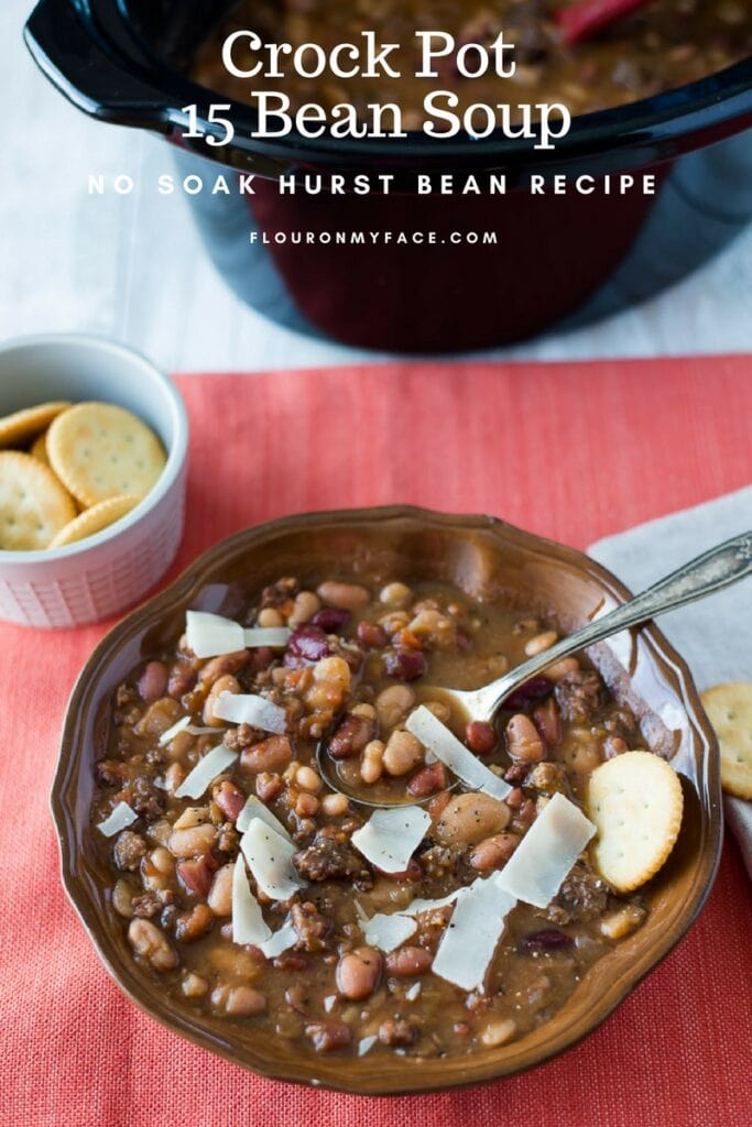 Crock Pot 15 Bean Soup recipe made with no soak Hurst beans