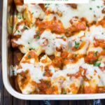 Sweet and Savory Stuffed Shells served in a Lagostina Lasagna pan #ad