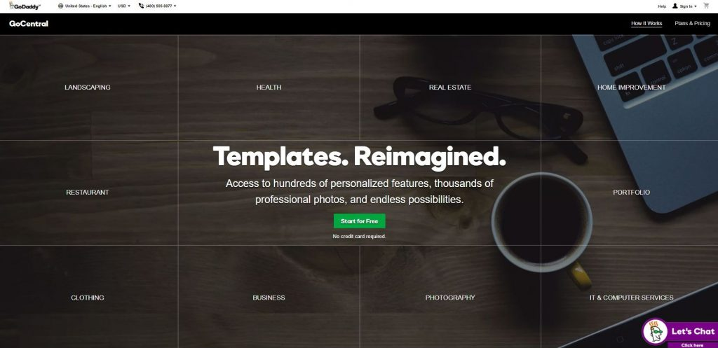 GoDaddy GoCentral comes with free templates to help you design your food business website.