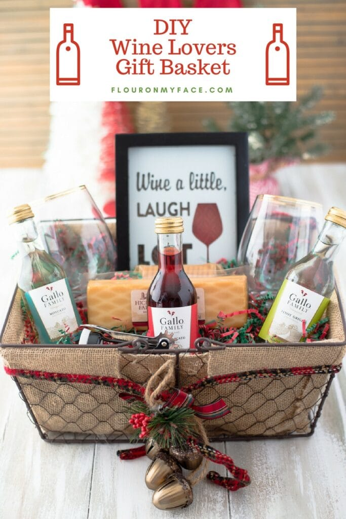 DIY Wine Gift Basket Ideas for the wine lover's Christmas gift.