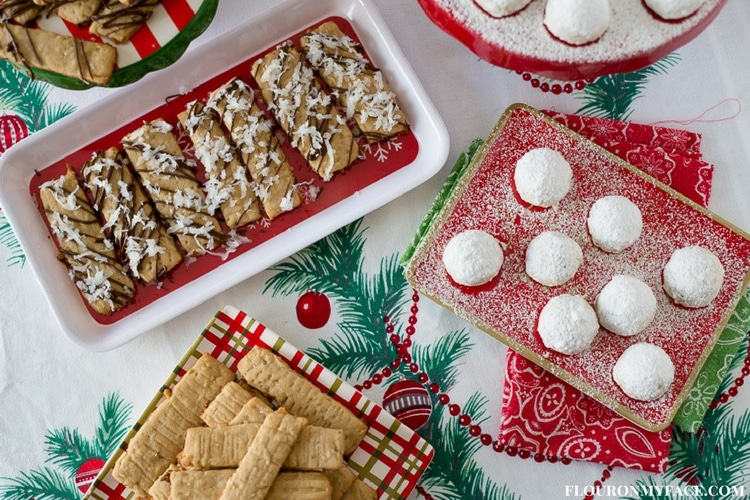 Cookie Exchange recipes - Mexican Wedding Cookies on a red holiday serving plate and Coconut Washboard cookies on holiday plates