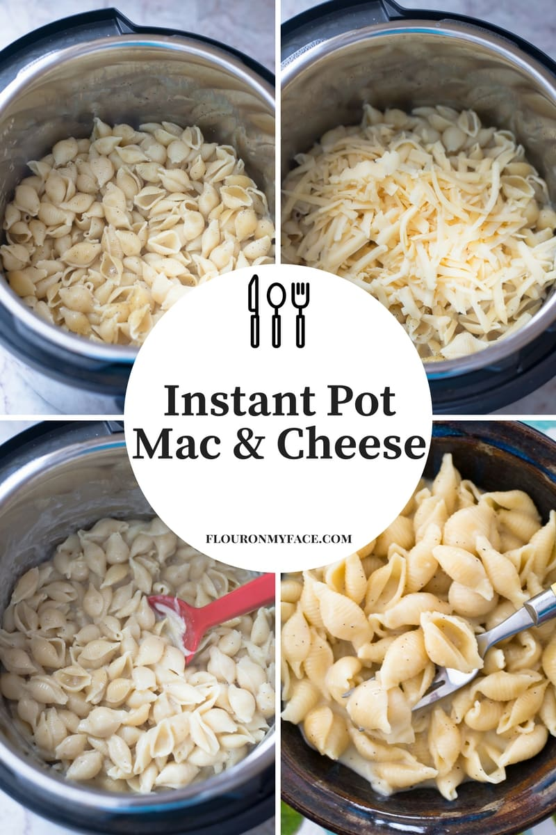 Easy Instant Pot Mac and Cheese recipe collage photo showing step by step instructions making homemade mac and cheese.