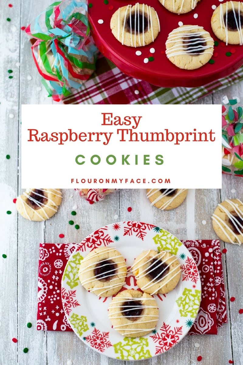 Raspberry Thumbprint Cookies served on a festive red and green Christmas plate