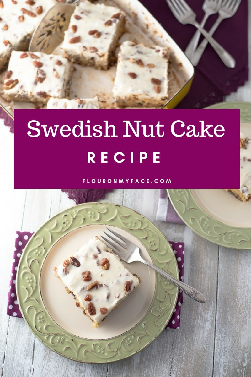 Swedish Nut Cake recipe cut into squares and served on a green plate.