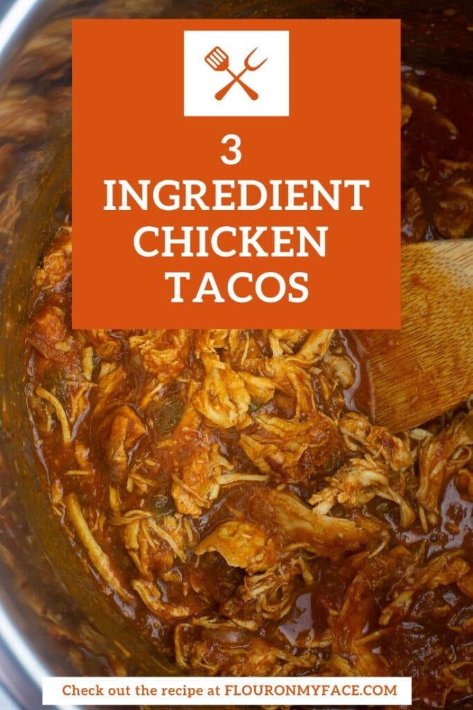 Featured image of chicken taco filling inside the pot of a pressure cooker