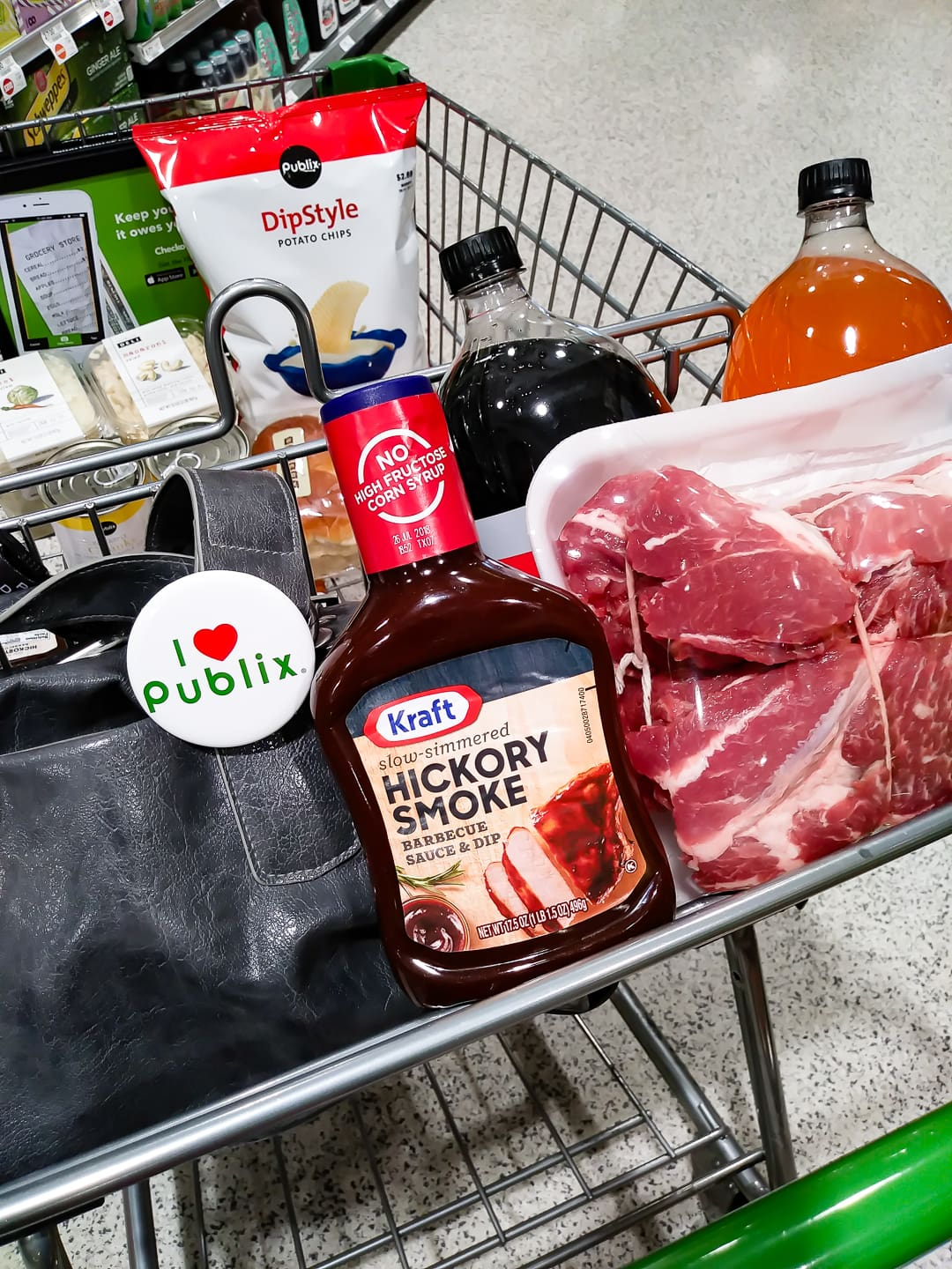 Publix shopping cart with ingredients need to make Slow Cooker Pineapple Pulled Pork Sliders recipe