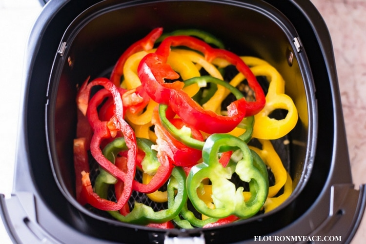 Red, Yellow and Green Bell Peppers getting ready to cooked in the airfryer