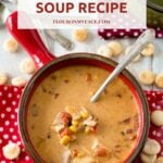 Crock Pot Chicken Soup recipe that is cheesy and creamy made with Velveeta cheese and leftover chicken, canned corn and black beans