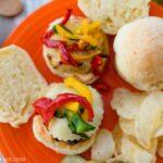 AirFryer Chicken Slider recipe served with airfryer bell peppers on homemade slider buns with spicy mayonnaise.