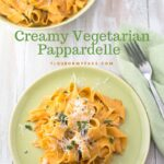 Vegetarian Pappardelle served on a green vintage dinner plate with shredded Parmesan cheese