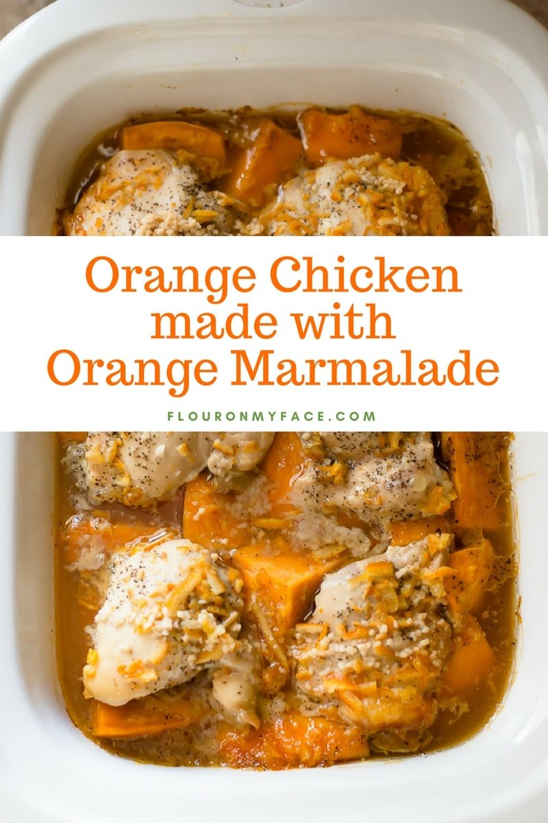 Casserole crock pot filled with chicken thighs and sweet potatoes cooked until tender