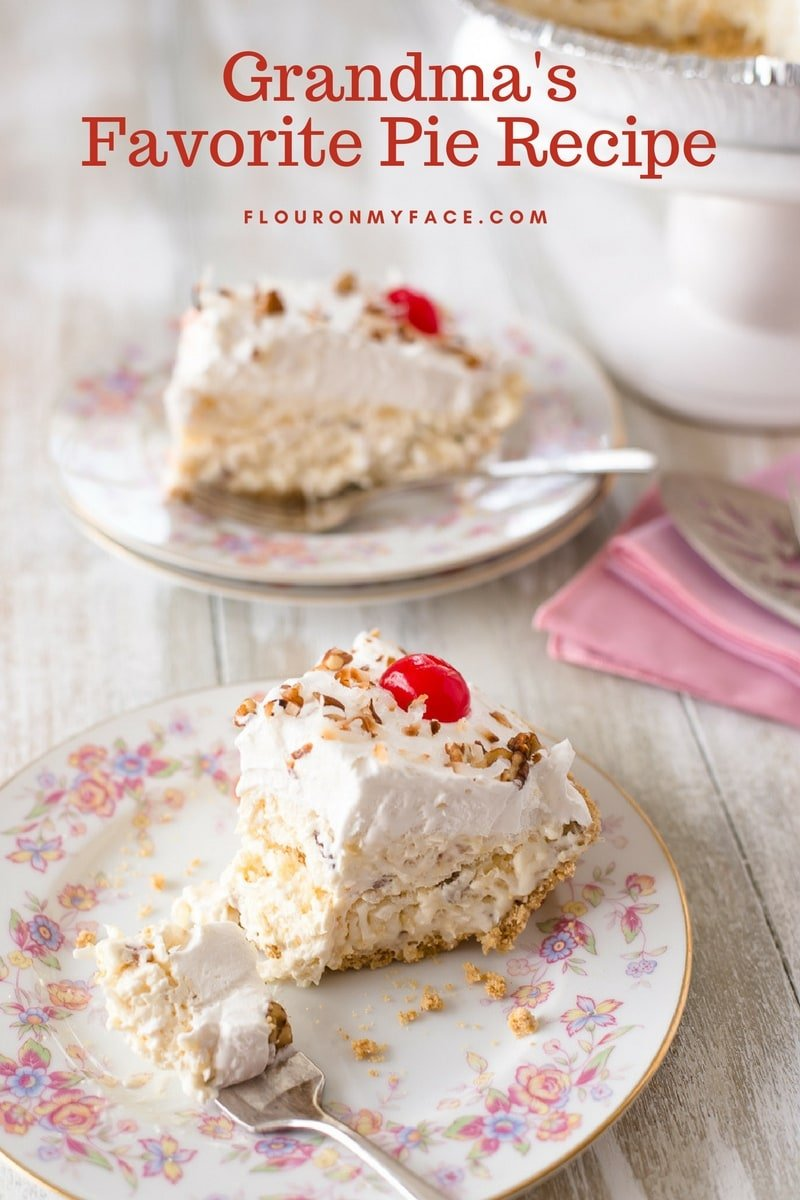 No Bake vintage Million Dollar Pie serving. only making one pie with this recipe.