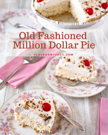 Old Fashioned Million Dollar Pie recipe on a floral vintage dessert plate with pink cloth napkins and vintage silverware.