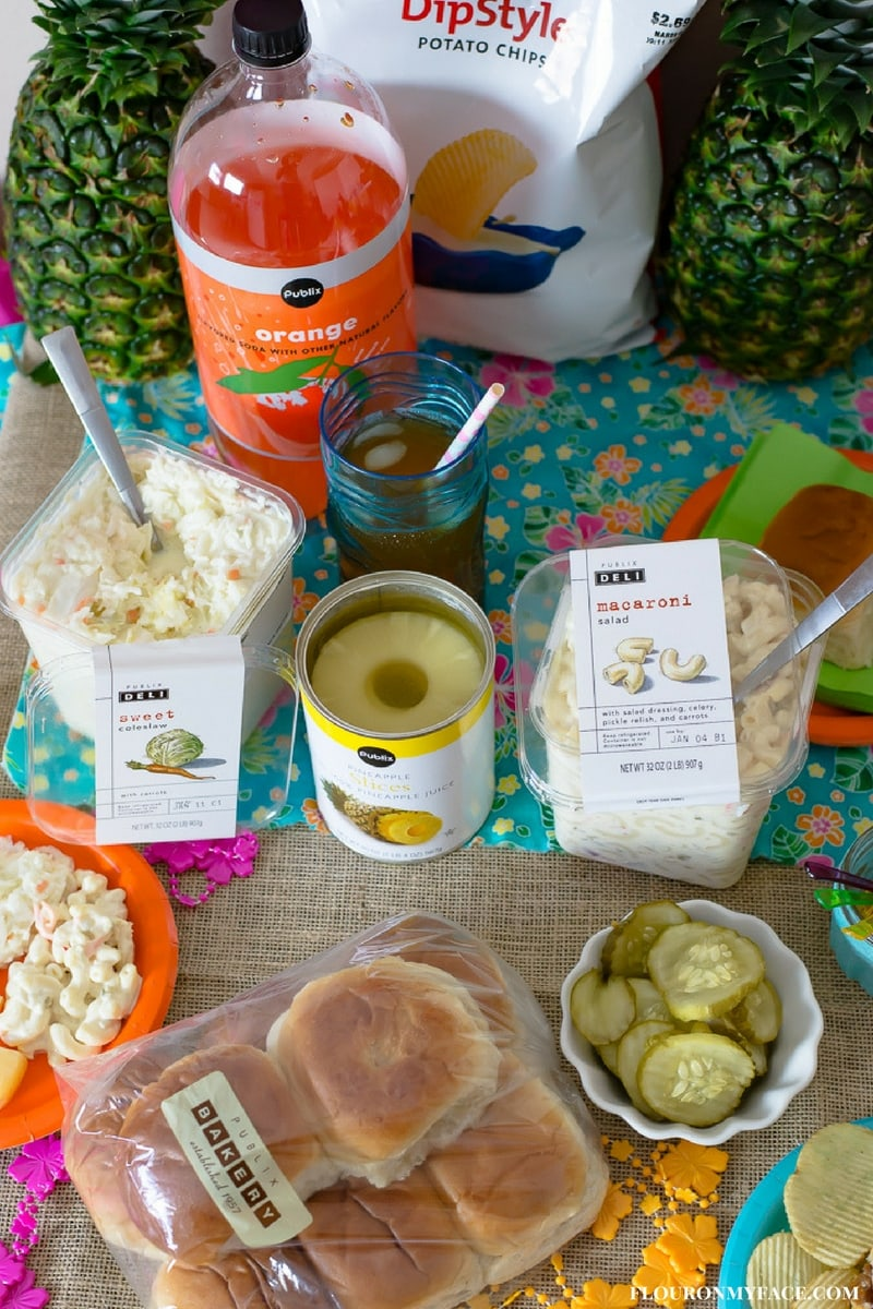 Publix brand products to make a Luau inspired family game night