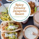 Creamy Jalapeno Sauce in a round wooden bowl served with chicken tacos, mango guacamole and homemade Horchata
