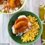 Easy Crock Pot Spicy Peach Pork Chops recipe in a bowl.
