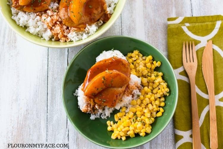 Easy Crock Pot Spicy Peach Pork Chops recipe in a bowl.