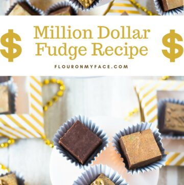 Old Fashioned Million Dollar Fudge recipe cut into 1 inch squares then colored gold with edible decorating dust