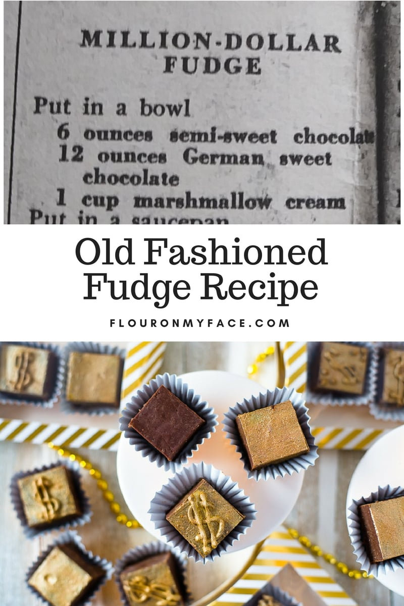 Vintage Old Fashioned cooked fudge recipe decorated with gold dust