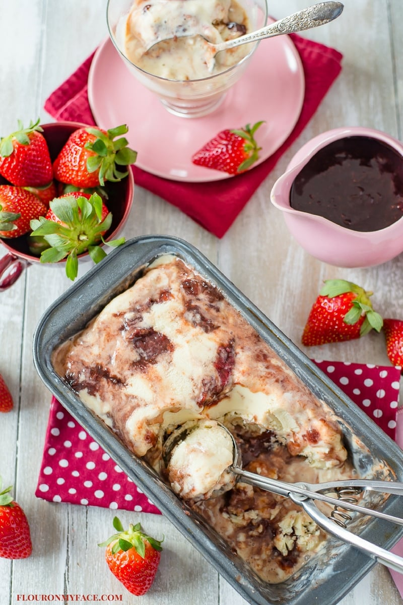 Strawberry Balsamic Ice Cream made with Florida Strawberries