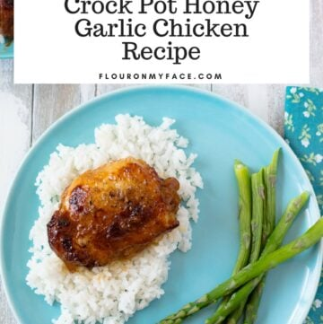 Easy Crock Pot Honey Garlic Chicken Thigh recipe served on white rice.