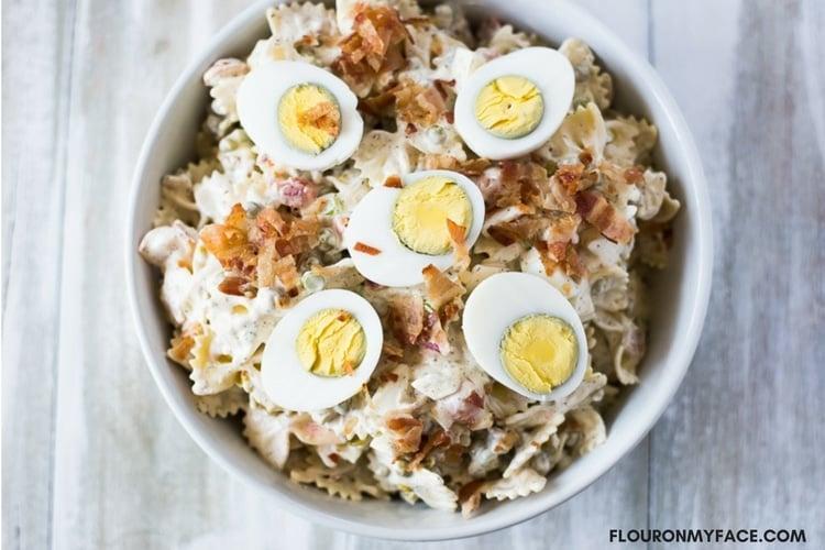 Bowl of Pea Pasta Salad recipe