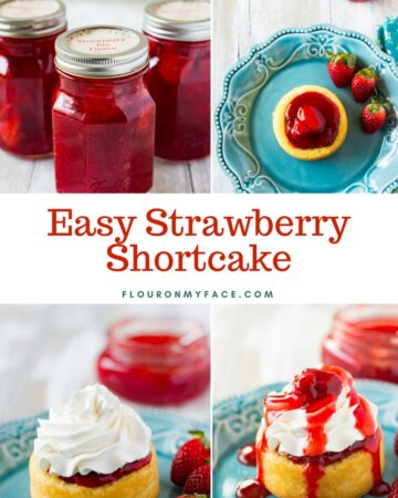 Strawberry Shortcake made with homemade strawberry pie filling