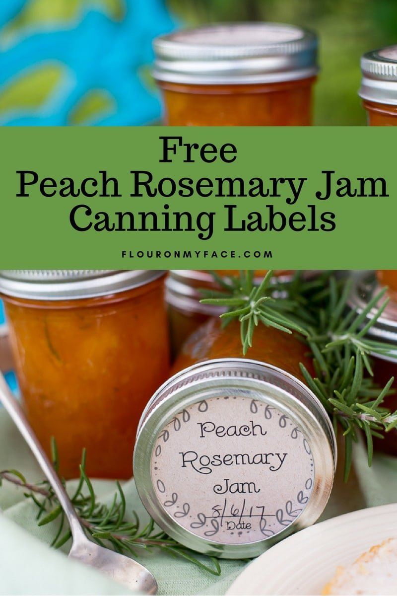 FREE Printable Peach Rosemary Jam Canning Label