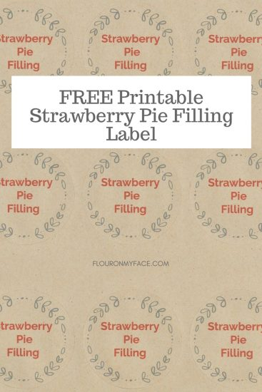 FREE Printable Strawberry Pie Filling Canning Label Preview
