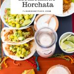 Homemade Horchata served with Mexican food