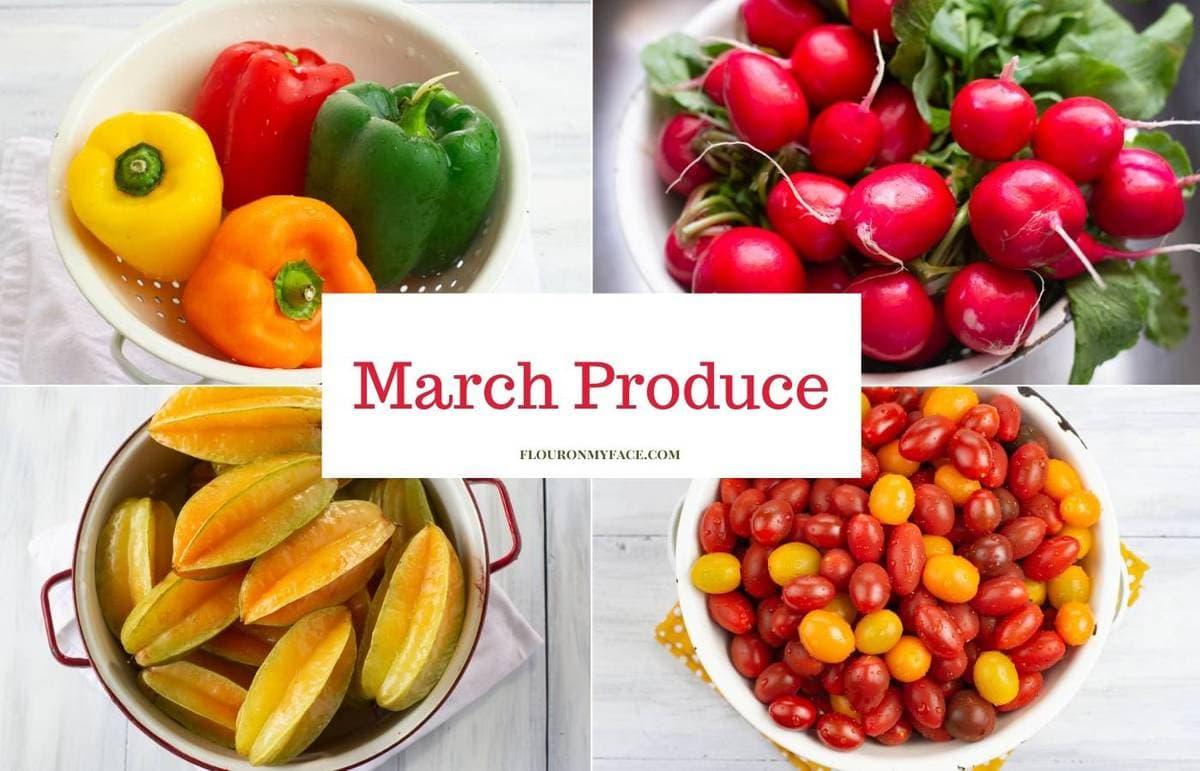 4 photo collage of fresh produce.