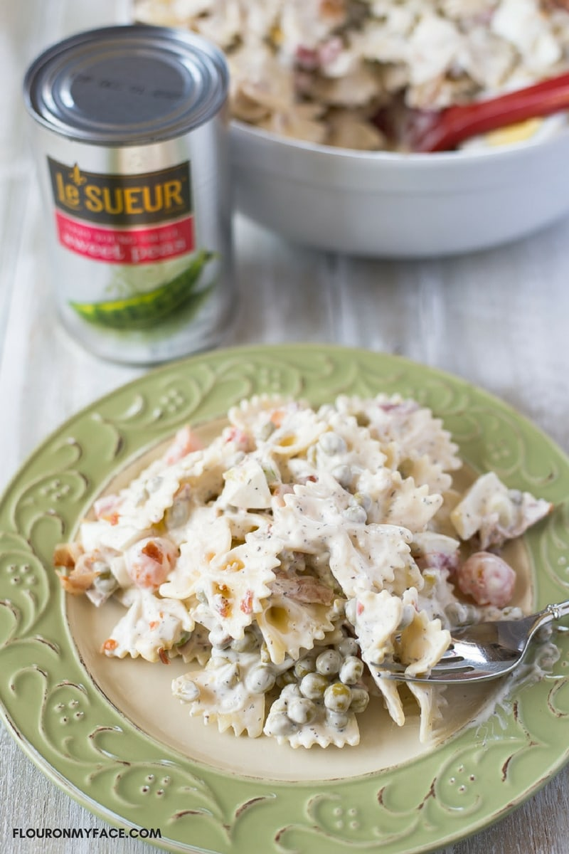 Sweet Pea and Pasta Salad recipe made with canned Le Sueur Sweet Peas makes the best Creamy Pea Pasta Salad recipe.