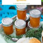 Peach Rosemary Jam recipe in mason jars served with biscuits